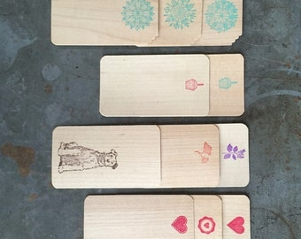 Real Wood Cards/set of 6, gift enclosure cards, card set