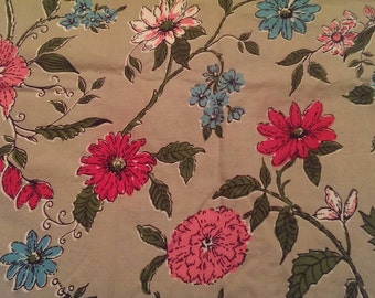 Piece of Vintage Floral Fabric in pink & turquoise
