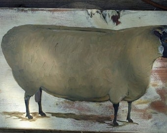 Primitive sheep on old wood