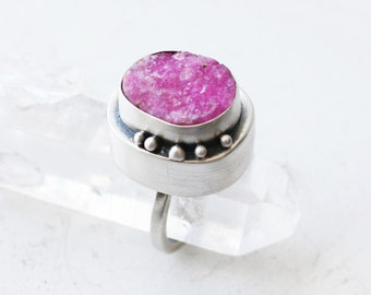 Pink Splash Ring - Sterling Silver and Pink Druzy Tall Statement Rattle Ring