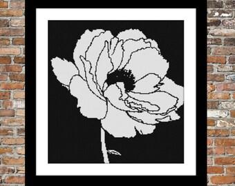 One Color Poppy - cross stitch pattern