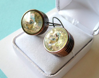 Large Signed Patricia Locke Slotted Rivoli Swarovski Crystal Dangle Earrings