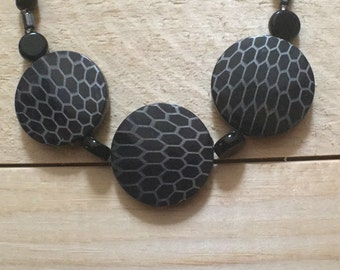 Black and grey chunky statement necklace