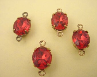 4 Vintage Rose Zircon Oval Glass Stone Charms 10x8  2 ring connector brass ox  setting closed back