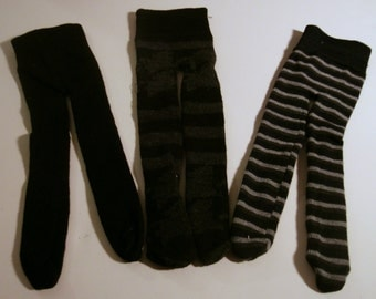 """Black and gray tights for 18"""" dolls, 3 pair! set T2"""