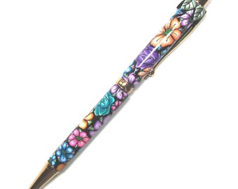 Touch screen Stylus ink pen intricate floral Millefiori polymer clay design nbr37