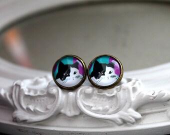 Cat earrings sweet lolita feminine black and white kitty kitten kitteh post stud