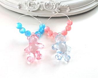 Bear mismatched hoops earrings kawaii pink blue fairy kei lolita