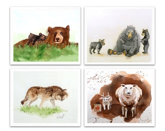 Wall Art Decor Prints Sale 23% off of 4 Prints sets Your choice 4 animal art prints Watercolor painting Art for nursery Child art  2