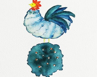 hen on topiary watercolor painting, original watercolor painting, folk style chicken on topiary, 11x14 painting with mat