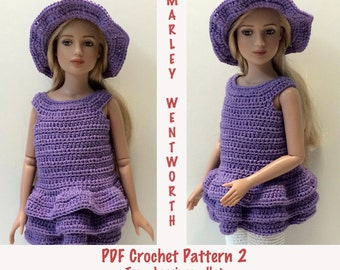 """Instant Download - PDF Crochet Pattern 2 - 12"""" Marley Wentworth - Top, Leggings and Hat"""