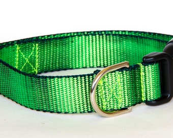 "Dog Collar - ( Green & Black ) ""Nuclear"" Hand Dyed Martingale, Buckle 1"" Width"