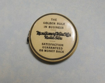 """Antique Montgomery Ward Retail Store 49"""" 1920s Celluloid Advertising Tape Measure Vintage Parisian Novelty Co."""