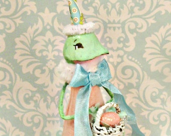 Easter frog doll Easter frog tree topper centerpiece pink green blue paper clay frog party decor ooak art doll toni Kelly original