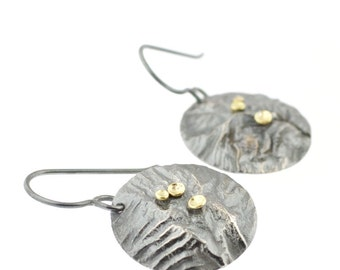 Lichen Lunar Earrings Sterling Silver 18 Karat Gold Recycled Metal