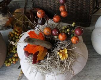 Harvest White Pumpkin, Grayish White Linen, Fabric Pumpkin,Autumn Gatherings, Thanksgiving Ideas,  Fall Decor, Centerpiece, lodge decor