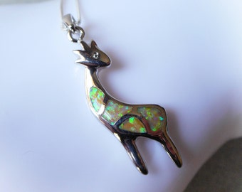 Opal Deer Necklace little fawn green fire opal charm pendant girl necklace young elk baby deer animal reindeer on 925 sterling silver chain