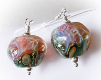 Mermaid Earrings 925 sterling silver pink blue black handmade lampwork glass bead drops sterling silver coral opal ocean shell urchin sea