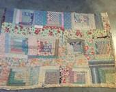 Vintage Feedsack Fabric Log Cabin Cutter Quilt Piece