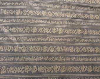 3 Yards of Vintage Blue and White Floral and Stripes Cotton Fabric