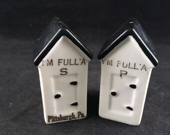 Set of Vintage Black and White Souvenir or Pittsburgh PA Outhouses Salt and Pepper Shakers