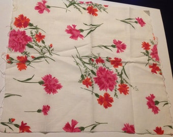 Vintage Pink Floral Print Feedsack/Flour Sack (No Longer a Sack)
