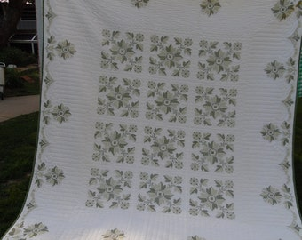 Vintage Hand Quilted White Quilt with Cross Stitch Embroidery Avocado and Celery Flowers