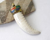 Tibetan Horn Pendant Conch Brass Gem Mosaic Inlay Tusk For Ethnic Jewelry Making