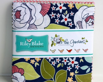 SALE 5 inch charm fabric squares INTO the GARDEN by Riley Blake from Amanda Herring