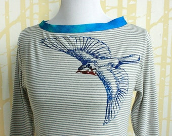 Bluebird Blouse, choose your size in hand printed American-grown organic cotton