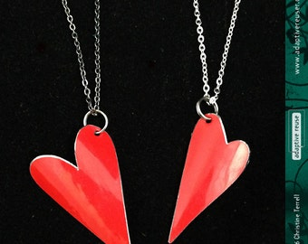 Tiny Heart--Upcycled Tin Necklace--You Choose the Color