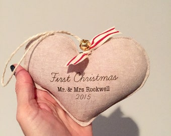 FIRST CHRISTMAS couples first Christmas ornament. Personalized. Linen heart ornament. New marriage.