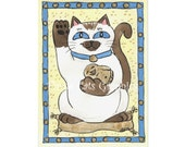 Siamese Luck - Choose from ACEO Print, Note Cards, or Art Print