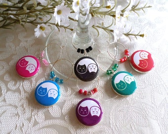 Yin Yang Cats Wine & Drink Glass Charms - Set of 6