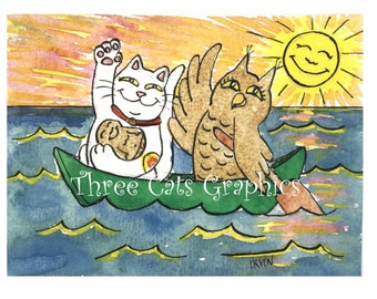 What a Lucky Voyage it Was for Owl and Pussycat  - Choose from ACEO Print, Note Cards, or Art Print