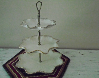 Three tiered holiday candy dish, desert tray in white with gold trim, made in California vintage Christmas