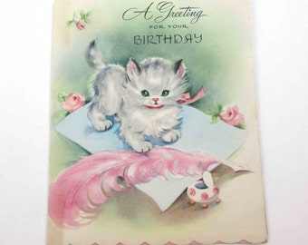 Vintage Birthday Greeting Card with Cute Grey and White Tabby Cat Pink Quill Feather Pen Paper Letter