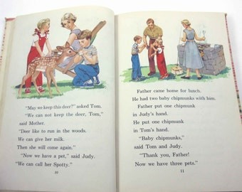 Side by Side Vintage 1950s Children's School Reader or Textbook by The John C. Winston Co.
