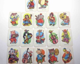 Vintage Tower Press Children's Donkey Playing Cards from England Set of 17
