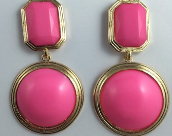 Bubblegum candy pink rectangle round cushion cut VINTAGE remix neon dangle plastic acrylic light weight sewing machine style earrings solid