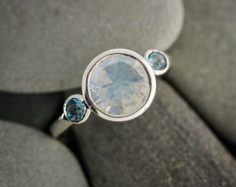 Rainbow Moonstone Ring, Blue Topaz Ring, Multistone, Three Stone Ring, Sterling Silver, Rainbow Moonstone Jewelry, Anniversary