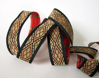 3 yards  SARTO Jacquard trim in red, beige on black. 7/8 inch wide. 2028-A