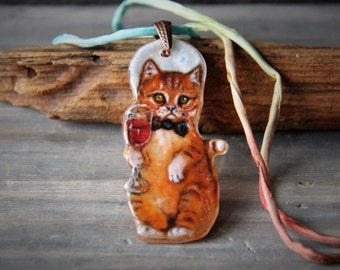 Sweet little kitten serving wine Necklace, fused glass pendant,  jewelry, full  moon, wine tasting party gift