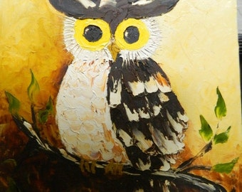 Valentines Day Sale Vintage Owl Oil Painting, Signed Eleira, Hooters, Wood Owl, Barn Owl, Halloween Owl