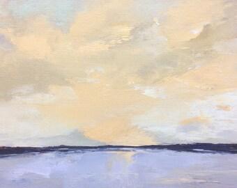 ARISE, oil landscape painting original 100% charity donation, 9X12 canvas  panel, clouds, ocean, shore