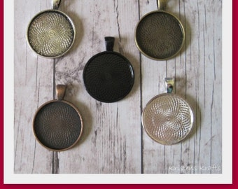 1 Inch Pendant Tray Blanks-Set of 10-Choose from silver, antique brass, black, antique copper or antique silver-Use for pendants, key chains