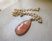 Rose Chalcedony Pendant, Freshwater Pearl Necklace, Ready For Ship, Free Shipping