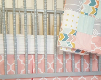 Multi Chevron Crib Size  Patchwork Blanket and Crib Skirt Set