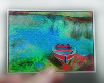 Gift under 10,The red boat, Lake house decor, Michigan art, ACEO, Original, art, photography, nature, 2.50 x 3.50 inch boat, fishing