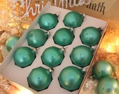 vintage glass ornaments matte pearl teal green, pretty color and patina of age, set of 10 christmas tree ornaments, holiday decor, usa made